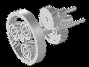 图像展示了风机齿轮箱的几何模型。