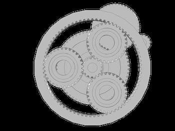 图像展示了风机齿轮箱的几何模型. planetary_gearbox2