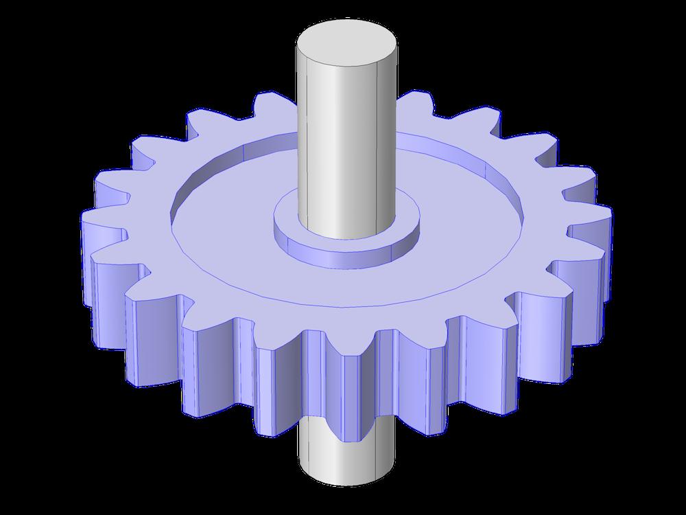 未突出显示轴的直齿轮几何模型。