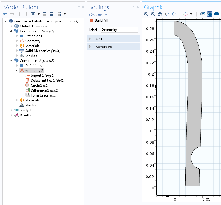 Pipe with hole COMSOL Multiphysics UI 如何重新使用变形物体作为几何输入