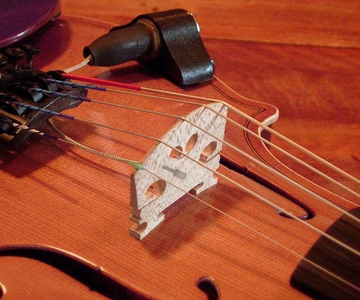 压电式小提琴琴桥的照片。