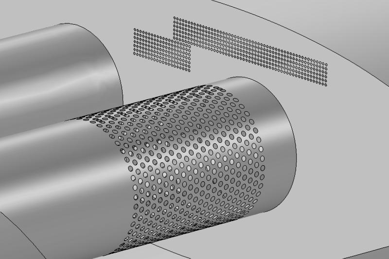 消音器几何模型,包含了带有数千个孔的穿孔区域。