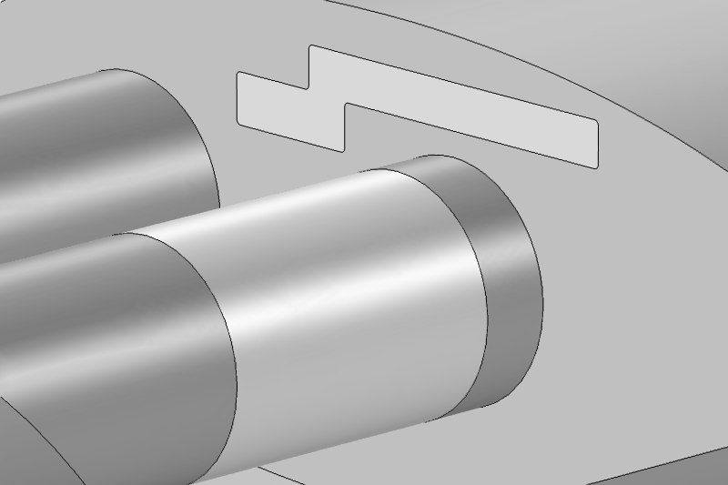 图像展示了应用了边界条件的消音器几何模型,替代了穿孔操作。