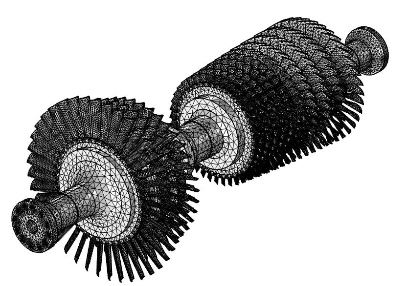 图像展示了燃气涡轮的四面体网格。
