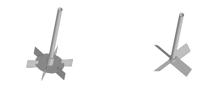 六叶 Rushton 圆盘涡轮和四叶轴向斜叶片叶轮的模型几何结构。