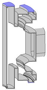 添加了附加支撑块的真空容器结构模型。