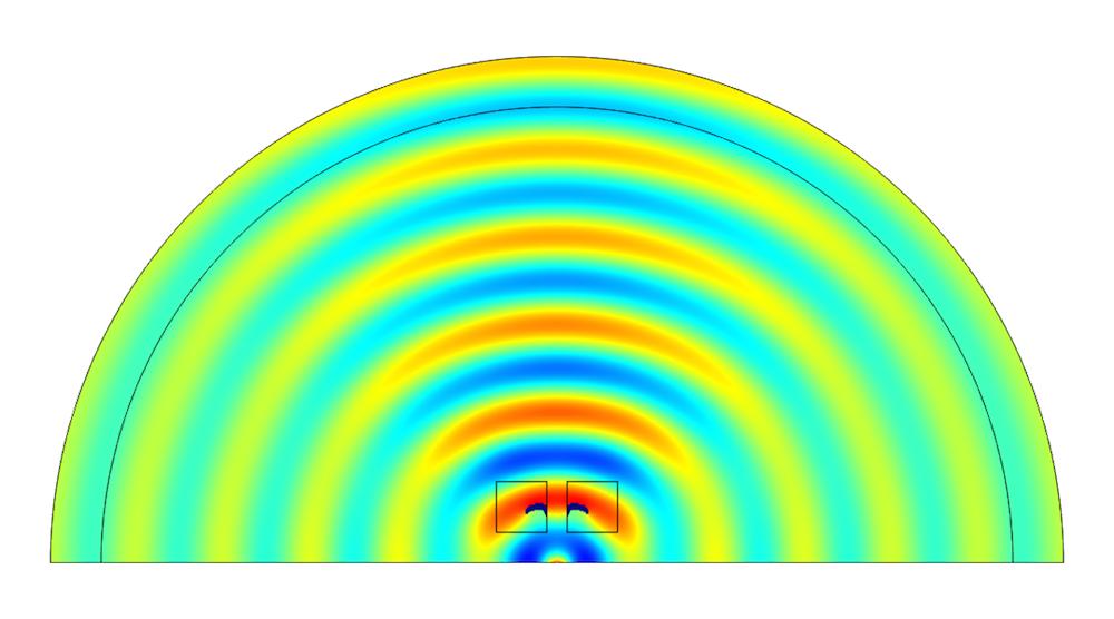 突出显示优化拓扑的声压的图。