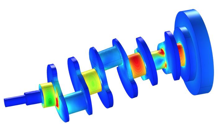 用于转子动力学分析的曲轴模型。