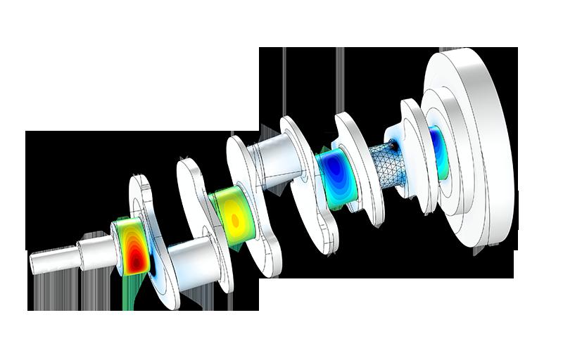 使用 COMSOL '转子动力学模块'创建的模型。