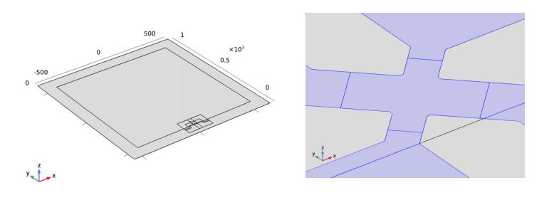 两张图片显示了传感器模型的几何结构和压敏电阻几何结构的细节。