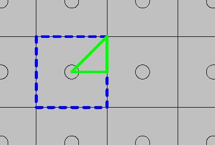 图像为周期模式的顶视图,其中包含了两个完整的单元格。