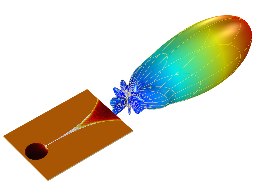 图片显示了An image showing results from a Vivaldi antenna simulation in COMSOL Multiphysics® 中 Vivaldi 天线的仿真结果。