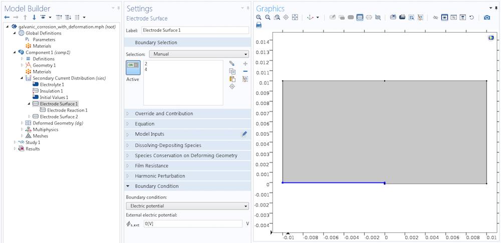 "COMSOL Multiphysics® 中""电极表面""边界条件设置的屏幕截图。"