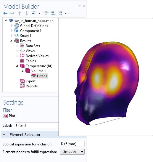 左侧为'过滤器'子特征的设置截图,右侧为表面距离的结果绘图。