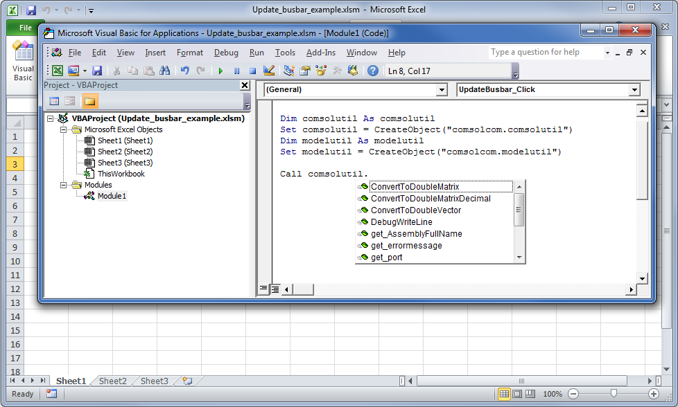 Screenshot showing the help options in VBA for defined types.