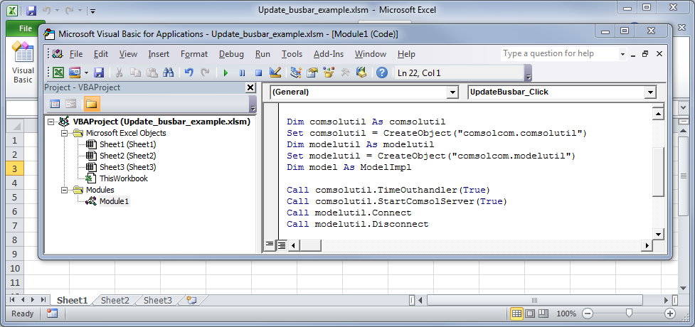 Screenshot of Visual Basic showing how to start a COMSOL Multiphysics Server.