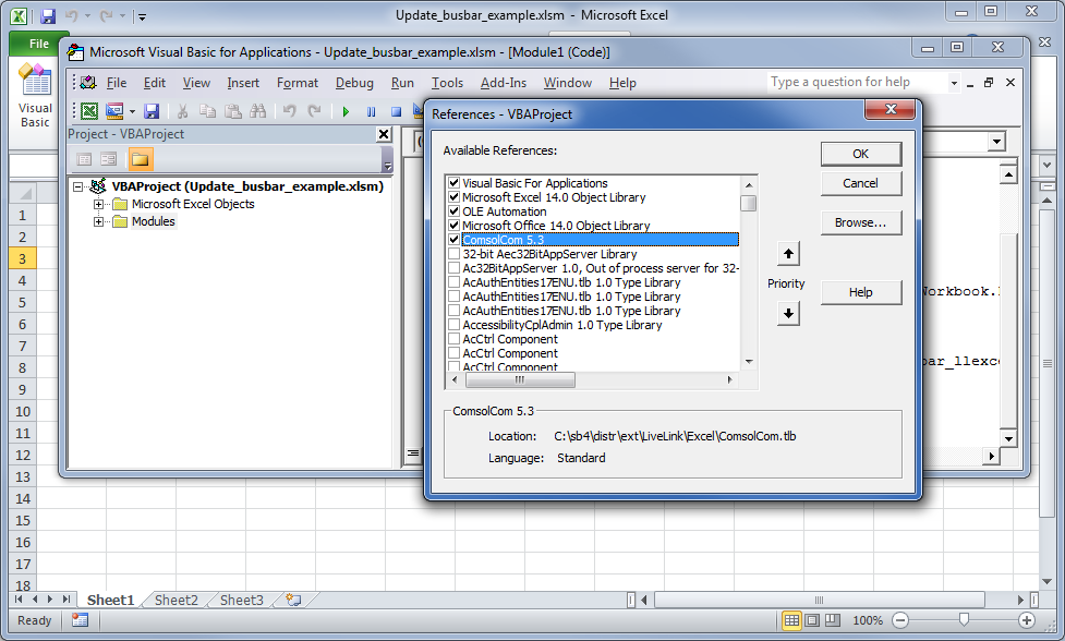 Screenshot demonstrating how to add a COM reference.