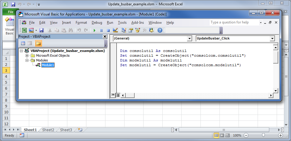 Screenshot showing an alternate way of accessing COM components in VBA.