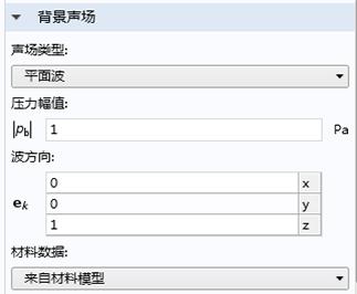 屏幕截图展示了 COMSOL Multiphysics 中的背景声场节点。