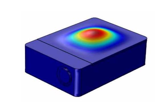 COMSOL Multiphysics 模型的第一个盖板模式。