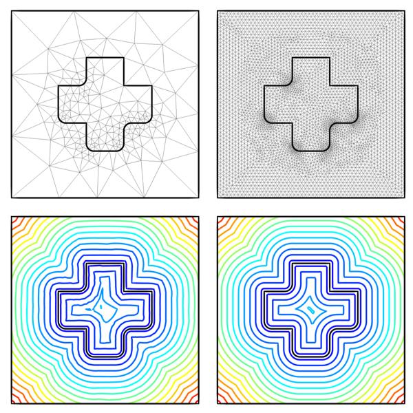 四张图片显示了对象周围和内部的距离场结果绘图。