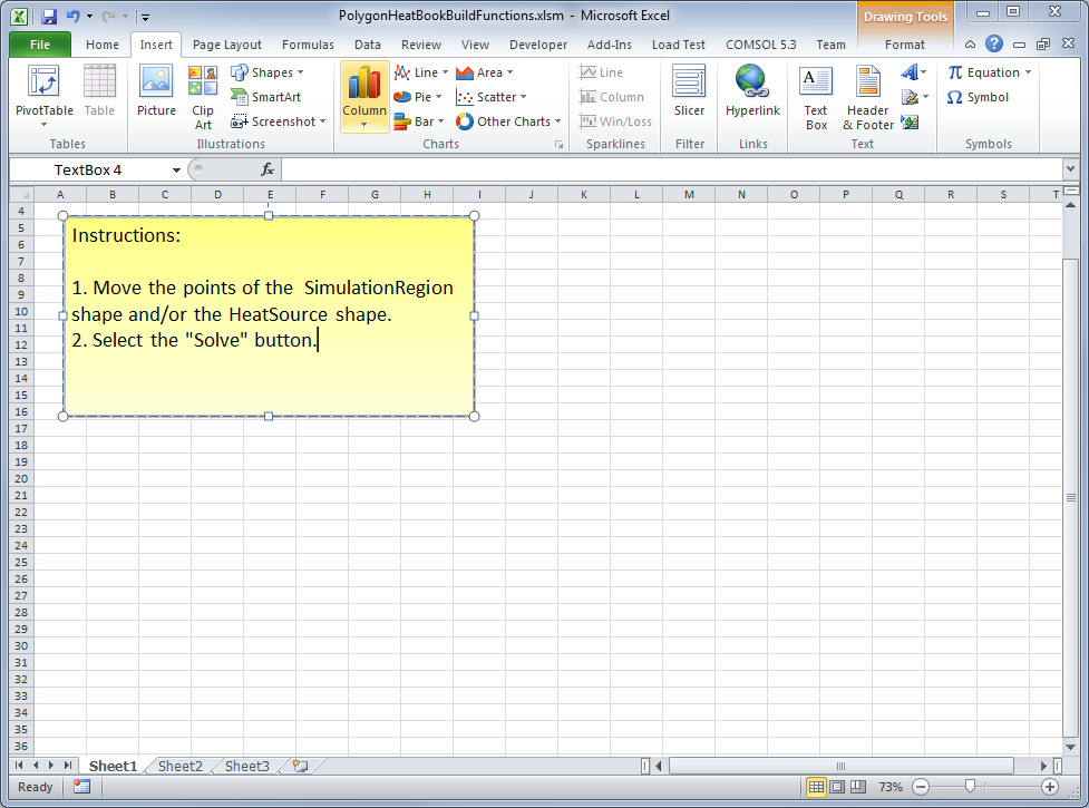Inserting a text box into an Excel workbook.
