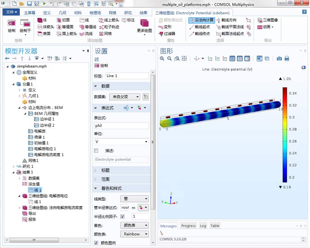 potential on the edges with a tube plot small CN1 利用边界元方法简化腐蚀仿真过程