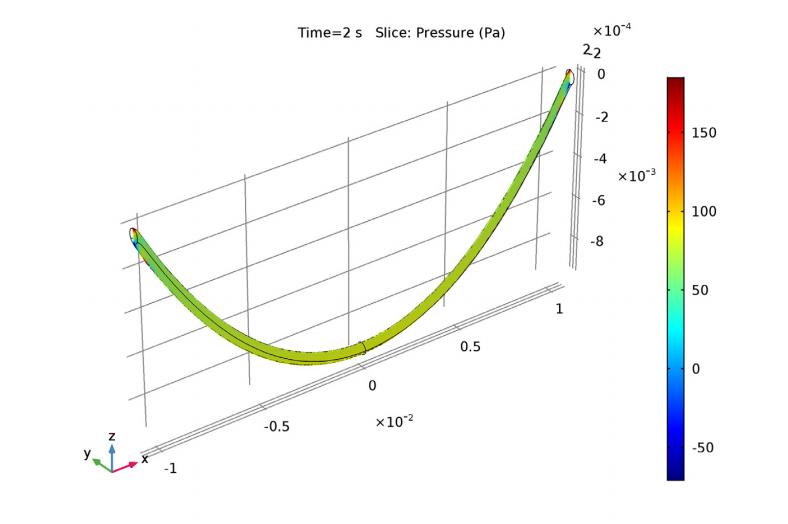 模拟结果显示了黏性悬链线内部的流体压力。