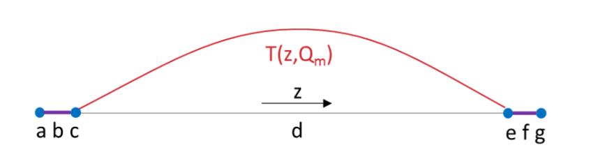 一维放电几何结构图,其中包含其边界条件。