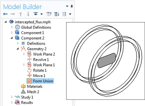 COMSOL Multiphysics® 模型树的截图以及第二个组件和几何的重叠图像。