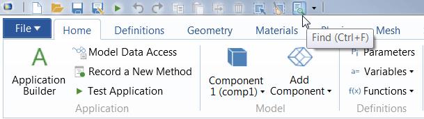 截图显示了 COMSOL Multiphysics 中的'查找'工具。