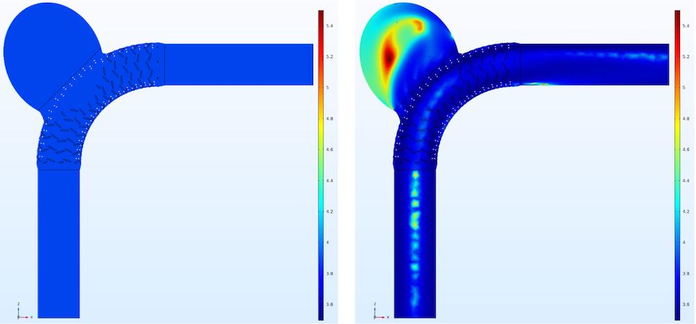 两张图片分布显示了 COMSOL Multiphysics® 中牛顿模型和 Carreau-Yasuda 模型的粘度分布图。