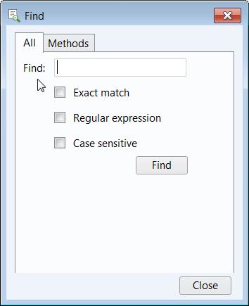 截图显示了如何使用 COMSOL Multiphysics中的'查找'工具。