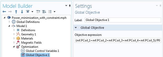 """显示 Comsol Multiphysics 中""""全局目标""""表达的屏幕截图。"""