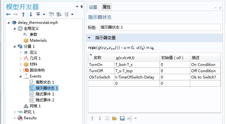 使用指示器状态接口定义用于触发事件的三个不同的指示器。