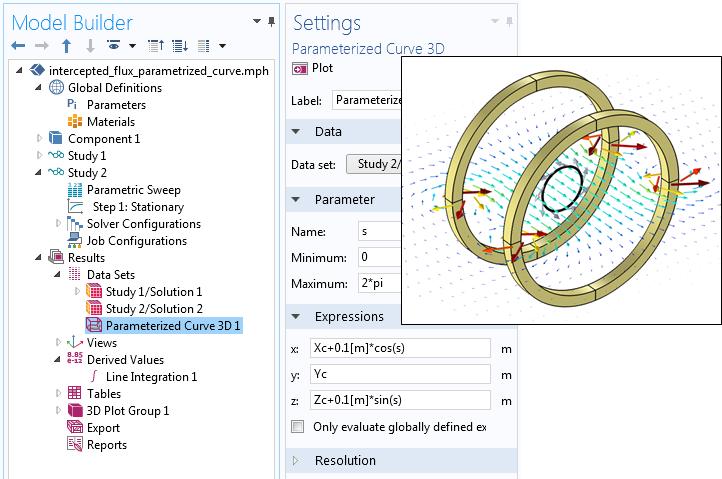截图显示了'三维参数化曲线'数据集的设置。