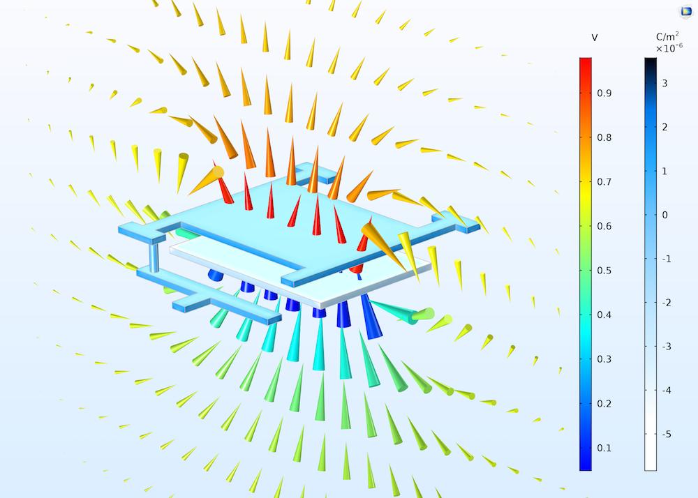 capacitor modeled with boundary elements COMSOL® 软件 5.3 版本大幅提升建模速度