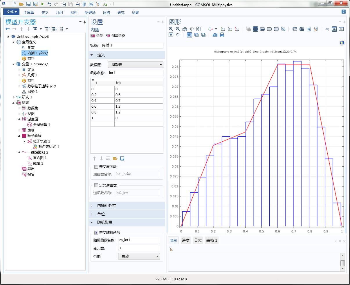 屏幕截图显示了 COMSOL Multiphysics 中内插函数特征的设置和图形窗口。