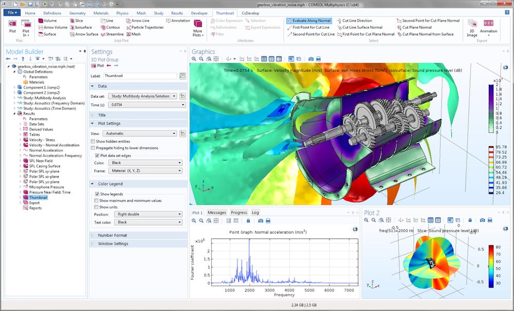 截图屏幕显示了变速箱中的噪声和振动教学模型,可在声学模块中下载。