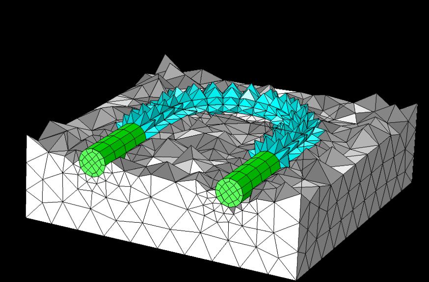 示例显示了金字塔单元过渡层自动将扫掠网格和四面体单元结合在一起。