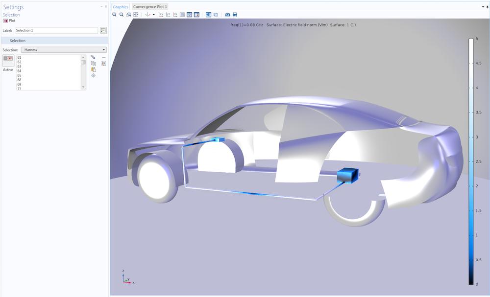 汽车天线示例显示了选择功能在后处理操作中的应用。