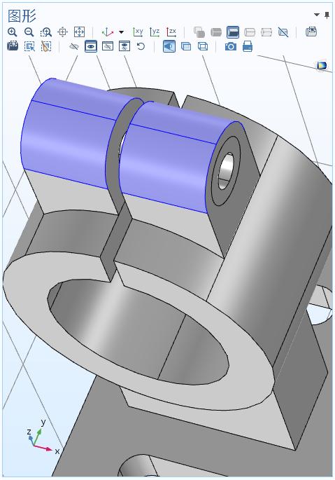 图形窗口的截图显示了固体力学仿真模型的选定表面。