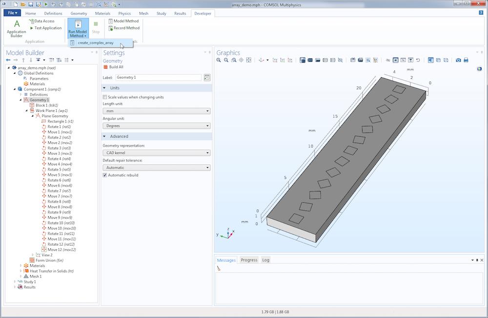 截屏图片显示了在 COMSOL® 5.3 版本中通过模型方法更新模型。