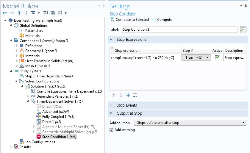 如何在 COMSOL 中为求解器添加停止条件插图2