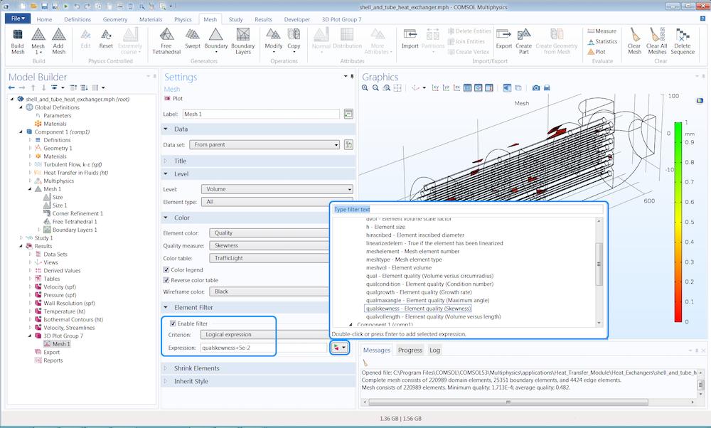 带注释的 COMSOL 软件截图显示了如何检查网格的质量测量。
