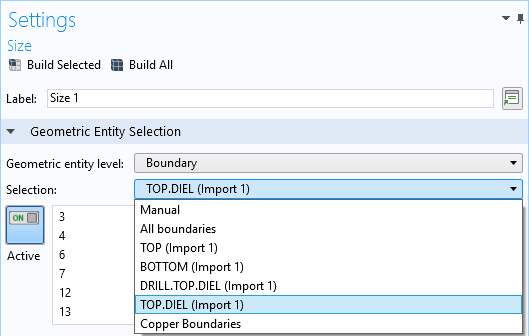 A screenshot of the COMSOL Multiphysics GUI with the Selection options shown.