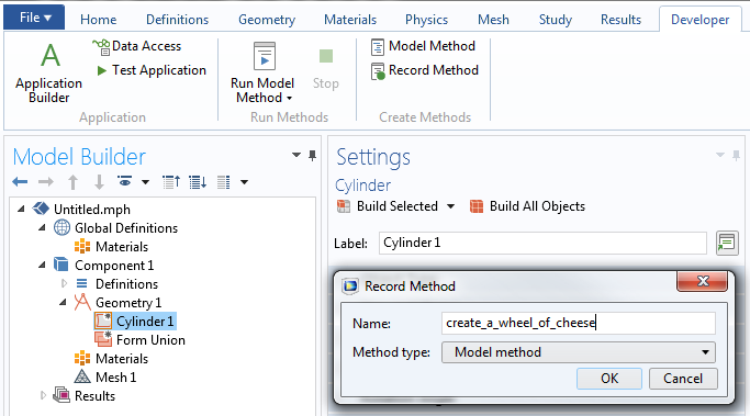 A screenshot showing the new Developer tab in COMSOL Multiphysics® 5.3 版本中新增'开发工具'选项卡的截图。