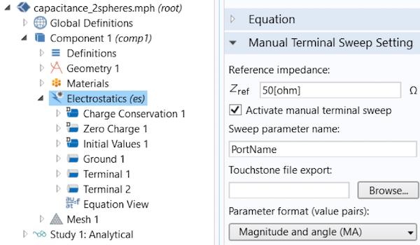显示 COMSOL Multiphysics 中静电接口的屏幕截图。