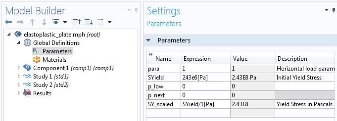 截图突出显示 COMSOL Multiphysics 软件中的'参数'设置。