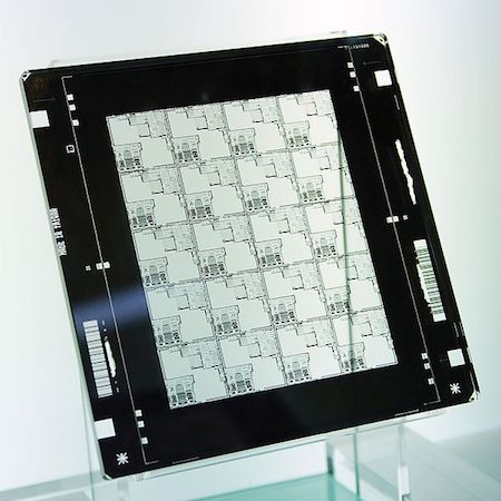 A photo of a photomask, commonly used before ECAD design software existed.